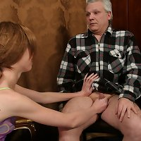 Adorable skinny puss gets a hard incest fuck for cussing at her aged daddy