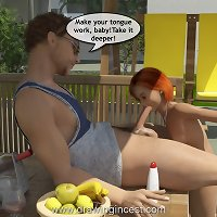 Sexy teen daughter blows her dad at a barbecue in this 3D series