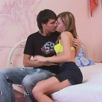 Shy vanilla-skinned teeny enjoys getting pummeled by her bro in her bedroom