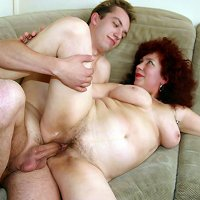 Brunette mom having sex with their son