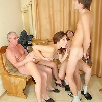 A mind-blowing family orgy with mom, dad, son and daughter participating